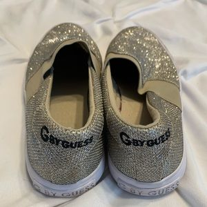 Guess silver metallic slip on shoes 7.5